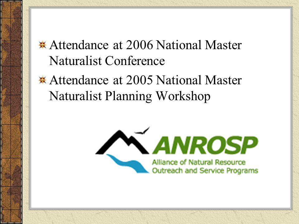 Attendance at 2006 National Master Naturalist Conference Attendance at 2005 National Master Naturalist Planning Workshop