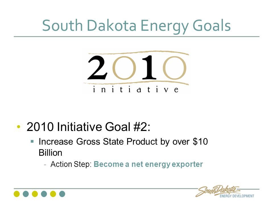 South Dakota Energy Goals 2010 Initiative Goal #2:  Increase Gross State Product by over $10 Billion -Action Step: Become a net energy exporter