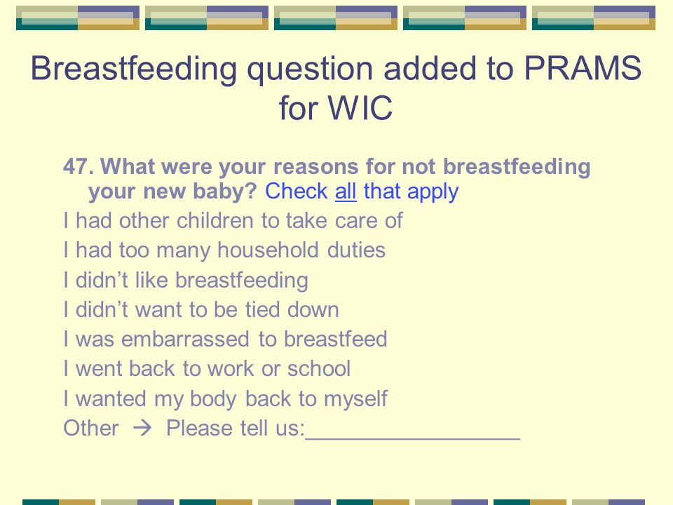 Breastfeeding question added to PRAMS for WIC 47.