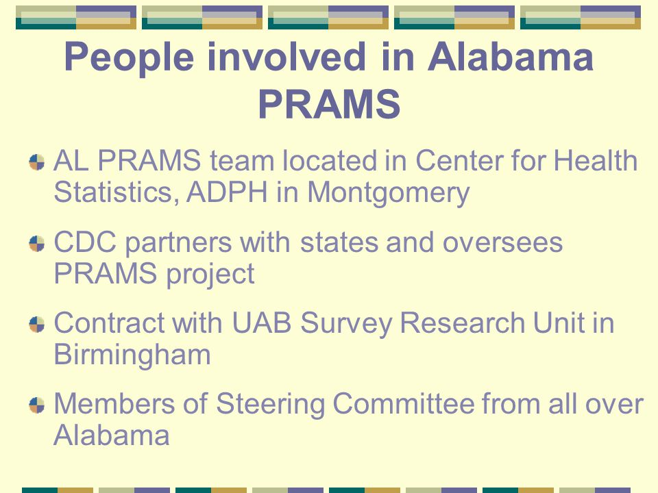 People involved in Alabama PRAMS AL PRAMS team located in Center for Health Statistics, ADPH in Montgomery CDC partners with states and oversees PRAMS project Contract with UAB Survey Research Unit in Birmingham Members of Steering Committee from all over Alabama