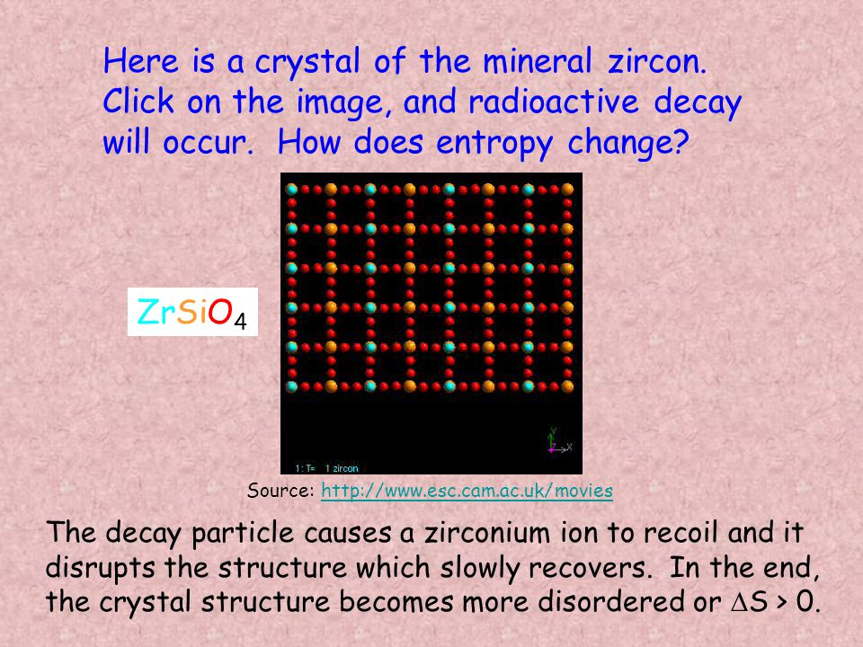 Here is a crystal of the mineral zircon. Click on the image, and radioactive decay will occur.