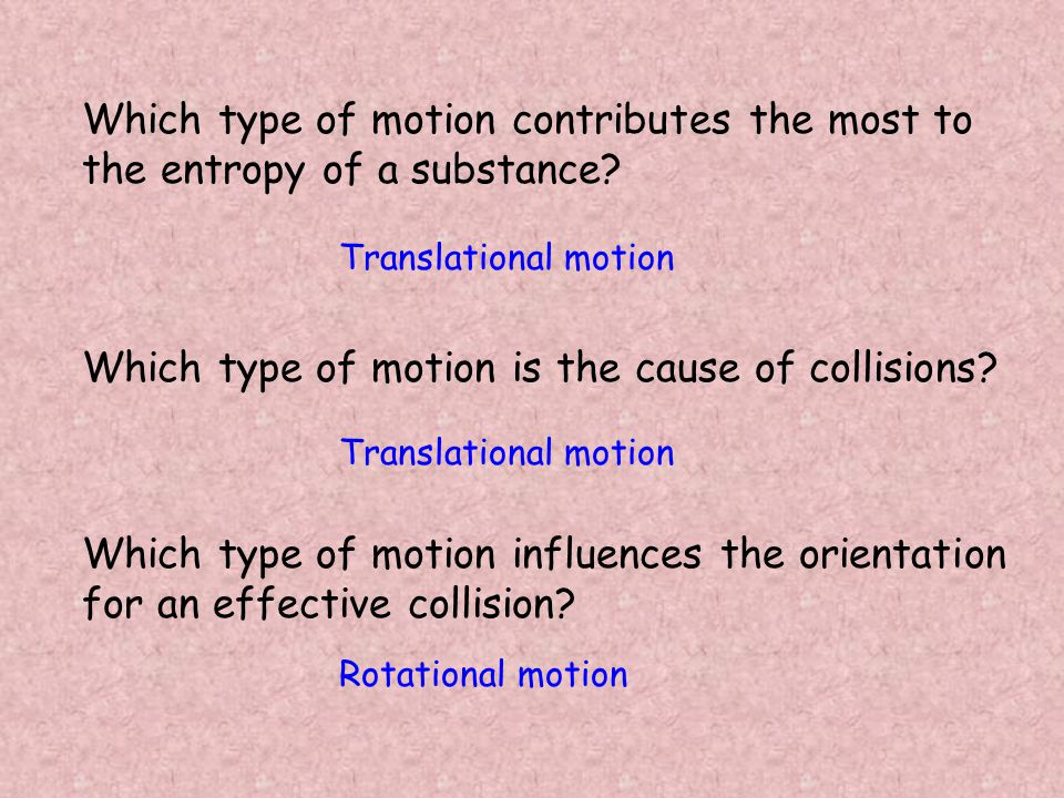 Which type of motion contributes the most to the entropy of a substance.