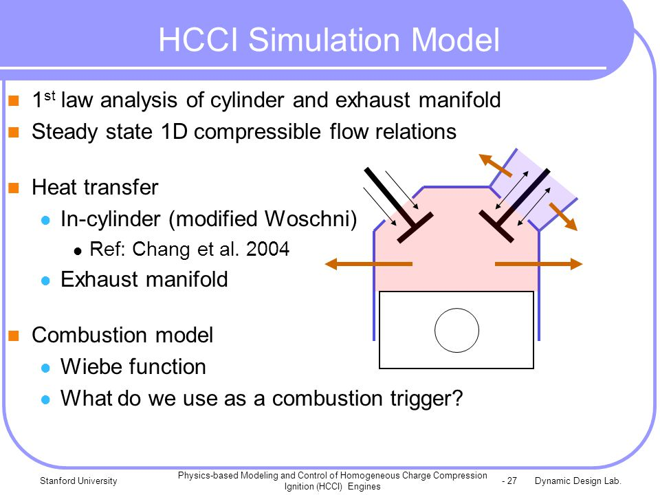 Dynamic Design Lab.Stanford University Physics-based Modeling and Control of Homogeneous Charge Compression Ignition (HCCI) Engines - 27 1 st law analysis of cylinder and exhaust manifold Steady state 1D compressible flow relations Heat transfer In-cylinder (modified Woschni) Ref: Chang et al.