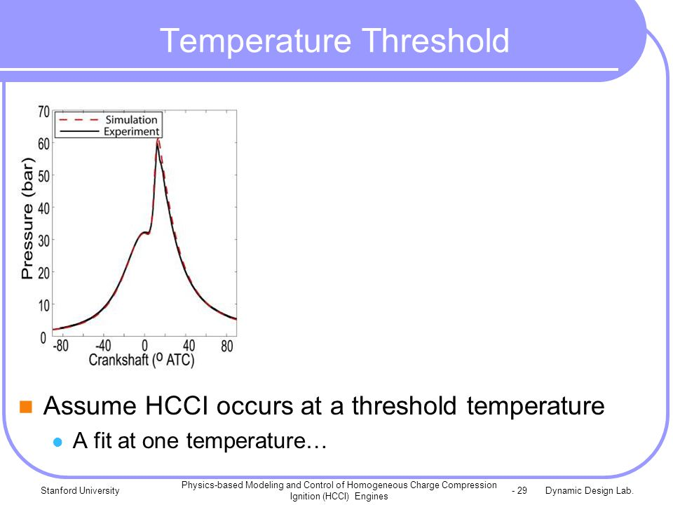 Dynamic Design Lab.Stanford University Physics-based Modeling and Control of Homogeneous Charge Compression Ignition (HCCI) Engines - 29 Temperature Threshold Assume HCCI occurs at a threshold temperature A fit at one temperature…