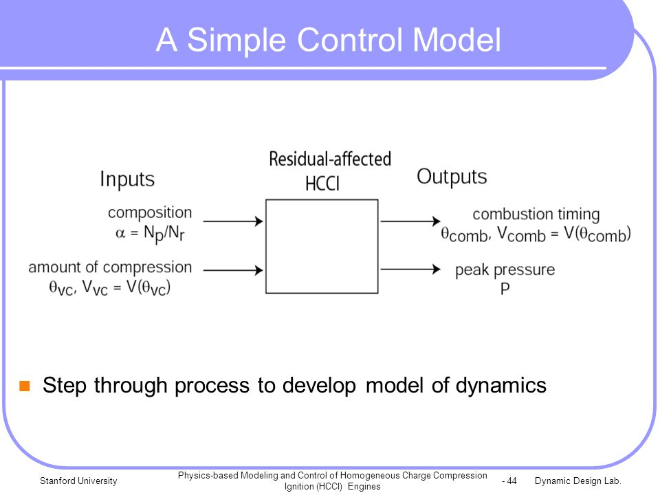 Dynamic Design Lab.Stanford University Physics-based Modeling and Control of Homogeneous Charge Compression Ignition (HCCI) Engines - 44 A Simple Cont