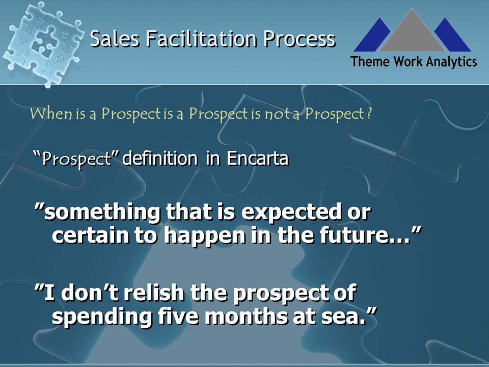 Sales Facilitation Process Prospects need to be Identified Qualified Assessed for opportunity potential Pursued Propositioned Converted Hand held as customers Prospects need to be Identified Qualified Assessed for opportunity potential Pursued Propositioned Converted Hand held as customers