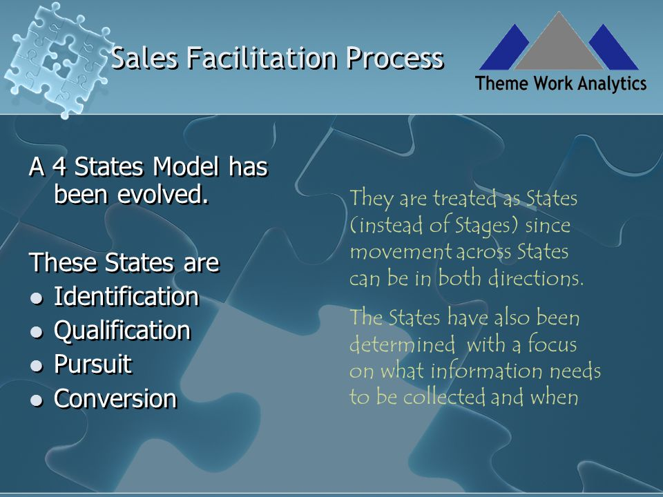 Sales Facilitation Process Identify states relevant to your firm Select parameters and metrics that best represent the activities in each state.