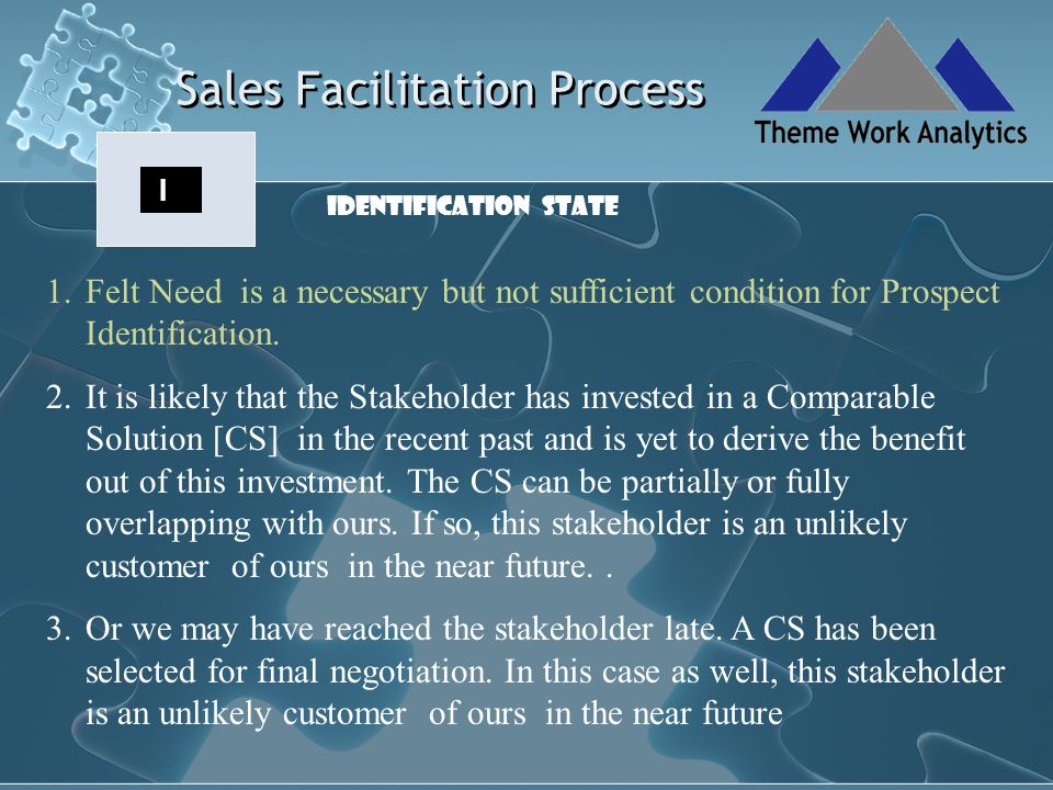 Sales Facilitation Process C Pursuit to Conversion is the most challenging path in Prospecting.