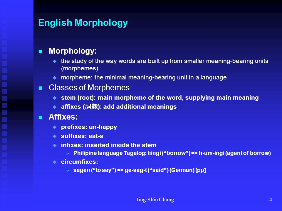 Jing-Shin Chang5 English Morphology Affixes:  concatenative: prefix & suffixes  non-concatenative: infixes & templatic morphology Templatic: root-and-pattern  Arabic, Hebrew, Semitic languages  Hebrew: lmd ( learn , study ) (tri-consonantal root)  active voice template: CaCaC => lamad ('he studied')  intensive CiCeC template: => limed ('he taught')  intensive passive template CuCaC => lumad ('he was taught') Multiple affixes: un-believabl-y Agglutinative languages:  languages that tends to string affixes together (Turkish, Japanese, Korean)