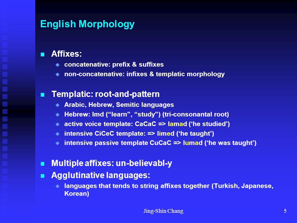 Jing-Shin Chang5 English Morphology Affixes:  concatenative: prefix & suffixes  non-concatenative: infixes & templatic morphology Templatic: root-an