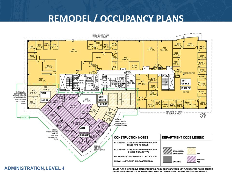 ADMINISTRATION, LEVEL 4 REMODEL / OCCUPANCY PLANS
