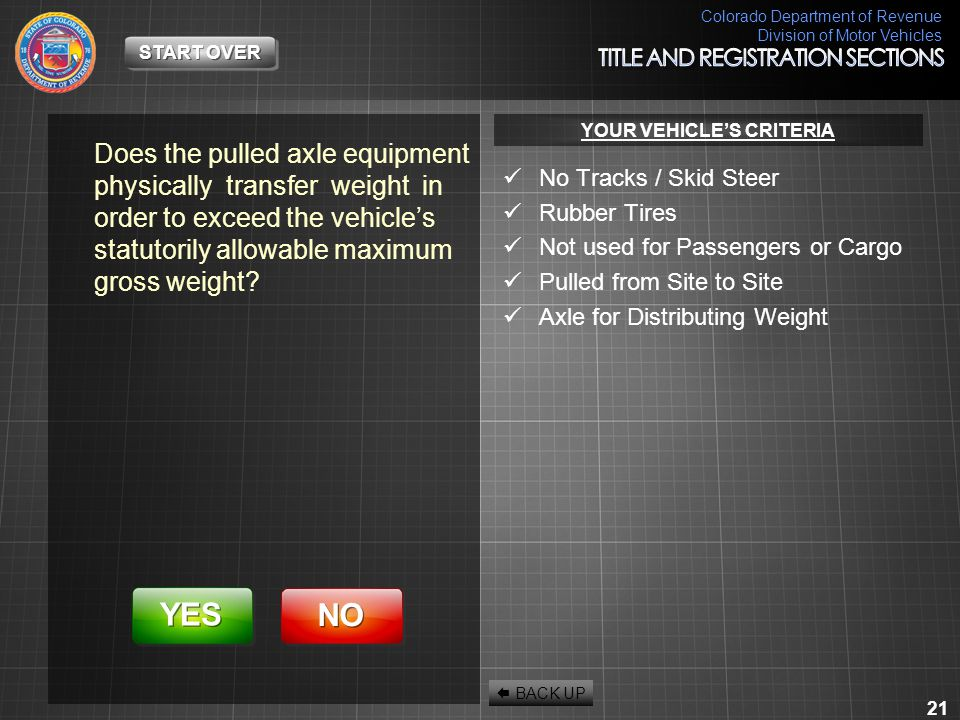 Colorado Department of Revenue Division of Motor Vehicles 21 Does the pulled axle equipment physically transfer weight in order to exceed the vehicle'