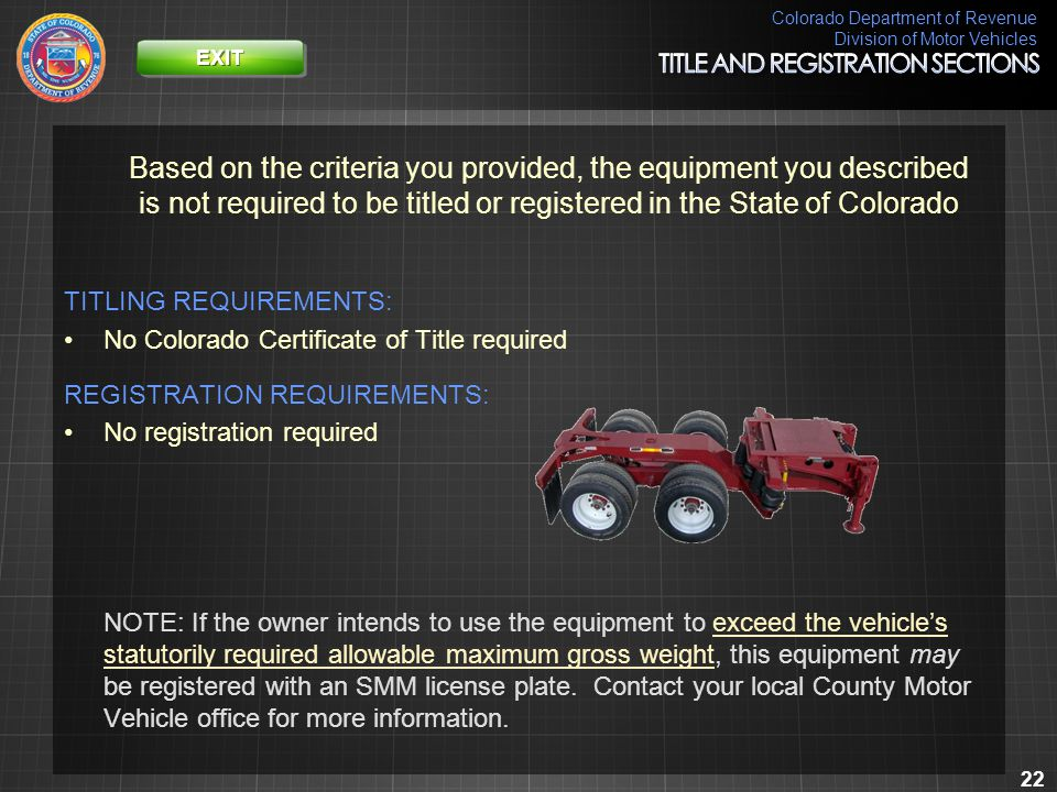 Colorado Department of Revenue Division of Motor Vehicles 22 Based on the criteria you provided, the equipment you described is not required to be tit