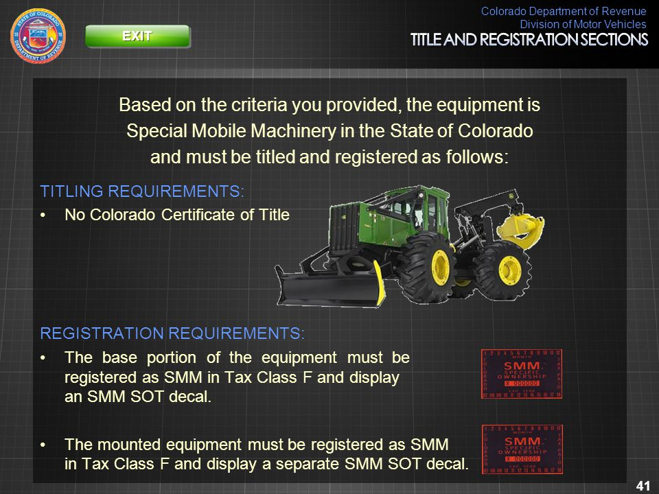 Colorado Department of Revenue Division of Motor Vehicles 41 Based on the criteria you provided, the equipment is Special Mobile Machinery in the Stat