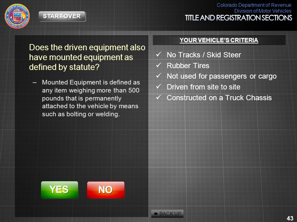 Colorado Department of Revenue Division of Motor Vehicles 43 Does the driven equipment also have mounted equipment as defined by statute? –Mounted Equ