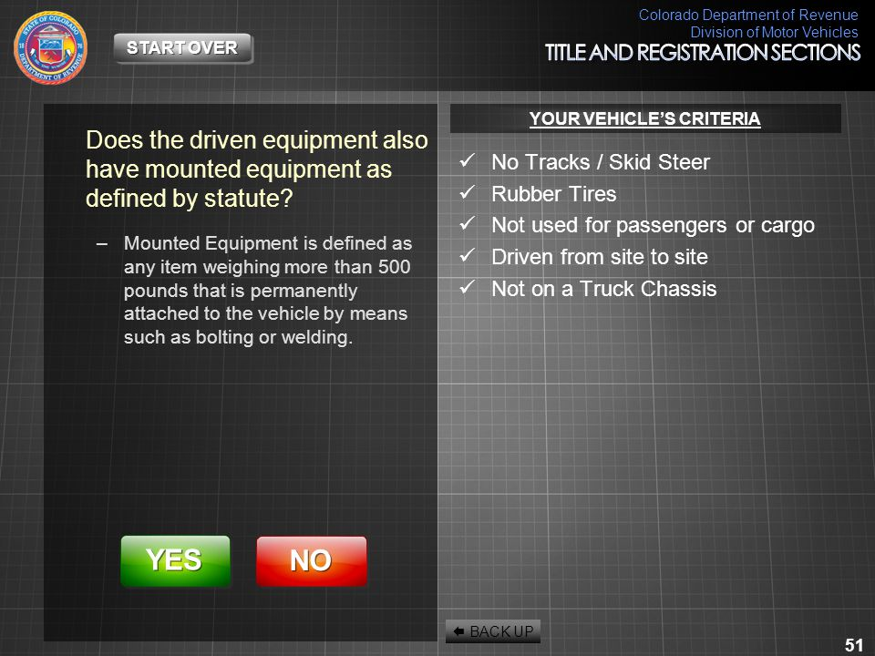 Colorado Department of Revenue Division of Motor Vehicles 51 Does the driven equipment also have mounted equipment as defined by statute? –Mounted Equ