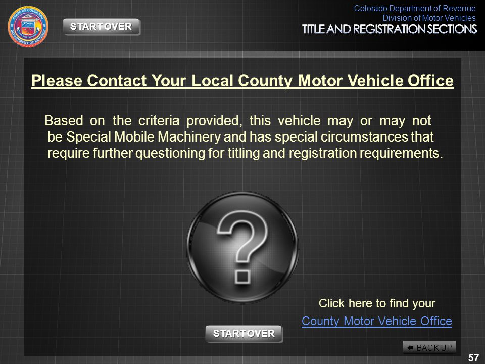 Colorado Department of Revenue Division of Motor Vehicles 57 START OVER Please Contact Your Local County Motor Vehicle Office Based on the criteria pr