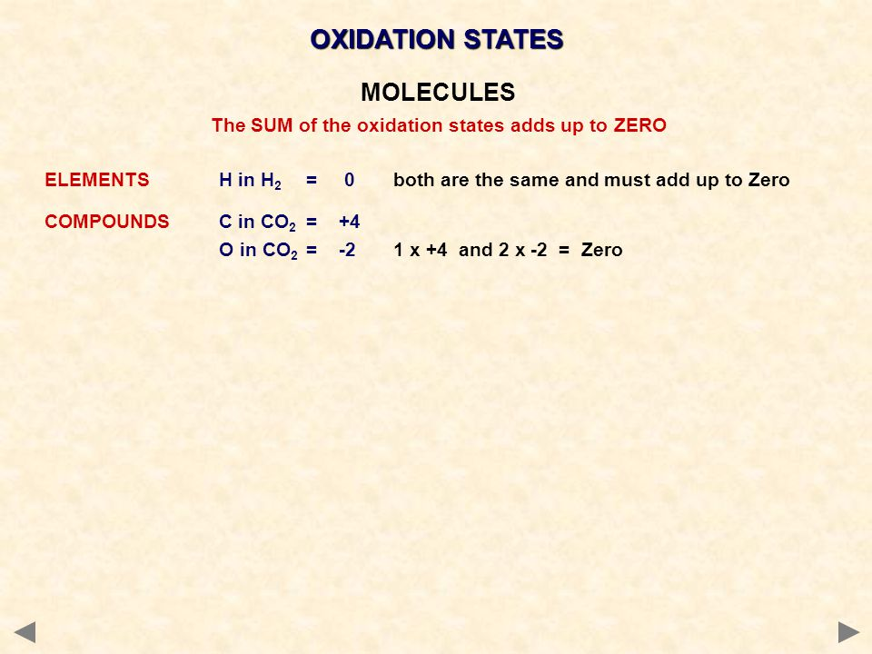OXIDATION STATES MOLECULES The SUM of the oxidation states adds up to ZERO ELEMENTSH in H 2 = 0both are the same and must add up to Zero COMPOUNDSC in CO 2 = +4 O in CO 2 = -21 x +4 and 2 x -2 = Zero