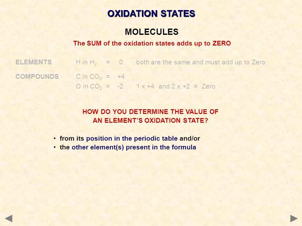 HOW DO YOU DETERMINE THE VALUE OF AN ELEMENT'S OXIDATION STATE.