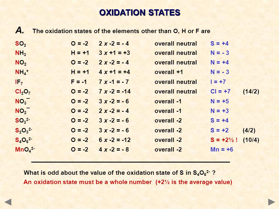 OXIDATION STATES A. The oxidation states of the elements other than O, H or F are SO 2 O = -22 x -2 = - 4overall neutralS = +4 NH 3 H = +13 x +1 = +3o