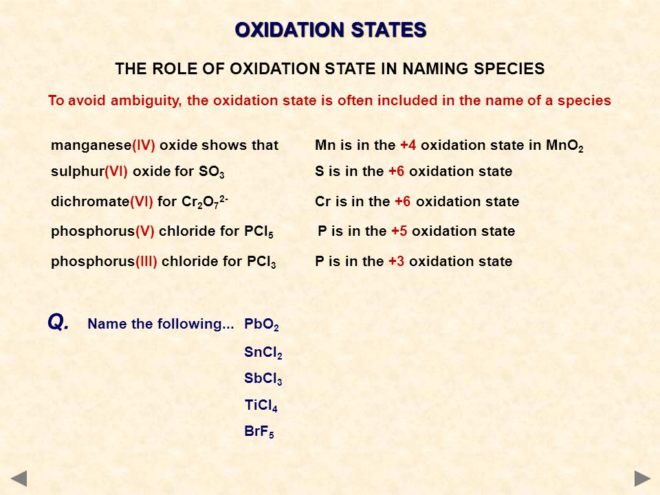 manganese(IV) oxide shows that Mn is in the +4 oxidation state in MnO 2 sulphur(VI) oxide for SO 3 S is in the +6 oxidation state dichromate(VI) for Cr 2 O 7 2- Cr is in the +6 oxidation state phosphorus(V) chloride for PCl 5 P is in the +5 oxidation state phosphorus(III) chloride for PCl 3 P is in the +3 oxidation state OXIDATION STATES THE ROLE OF OXIDATION STATE IN NAMING SPECIES To avoid ambiguity, the oxidation state is often included in the name of a species Q.