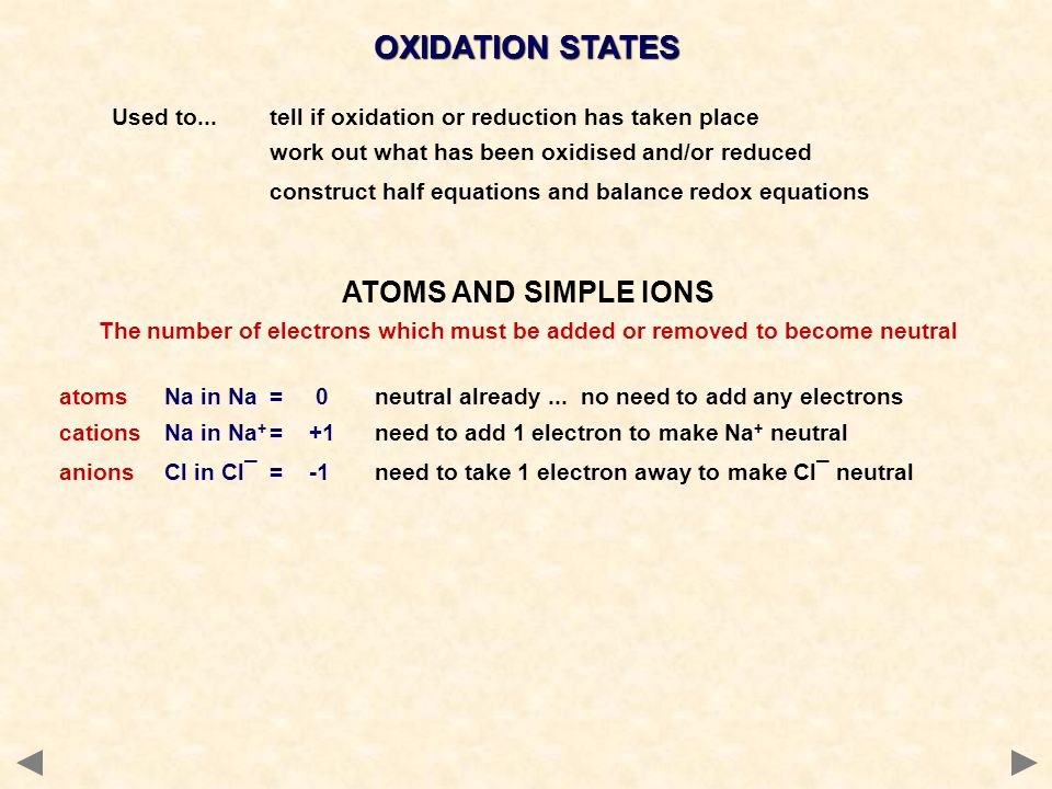 Used to...tell if oxidation or reduction has taken place work out what has been oxidised and/or reduced construct half equations and balance redox equations ATOMS AND SIMPLE IONS The number of electrons which must be added or removed to become neutral atomsNa in Na= 0neutral already...