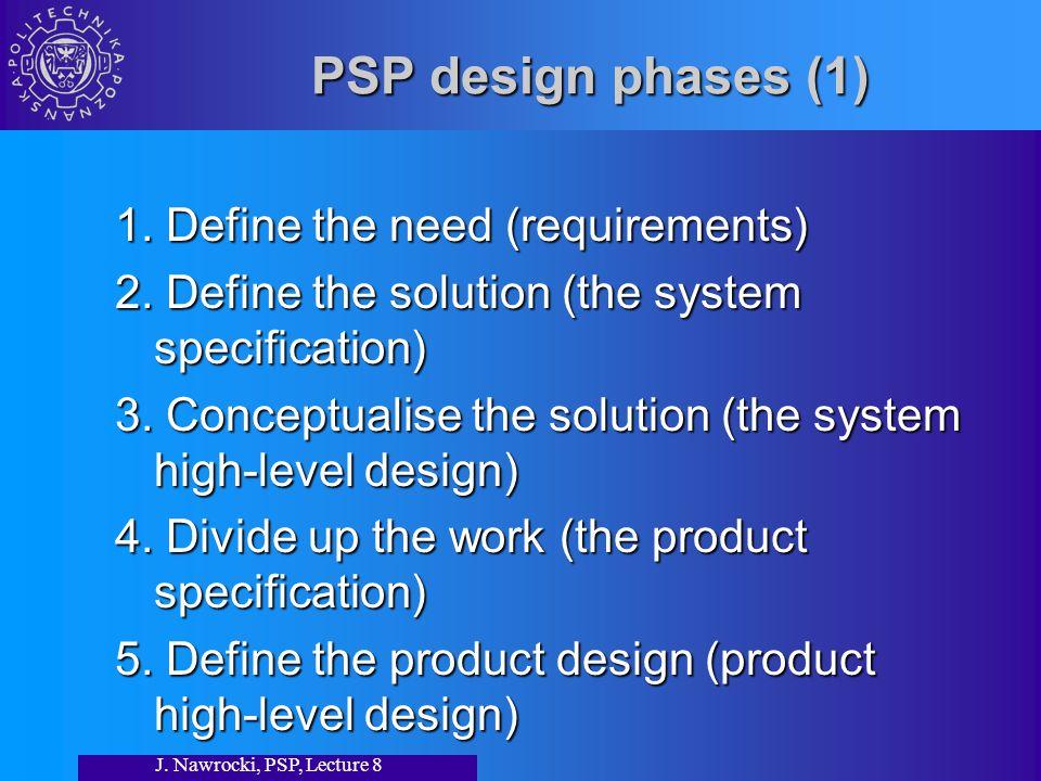 J. Nawrocki, PSP, Lecture 8 PSP design phases (1) 1.