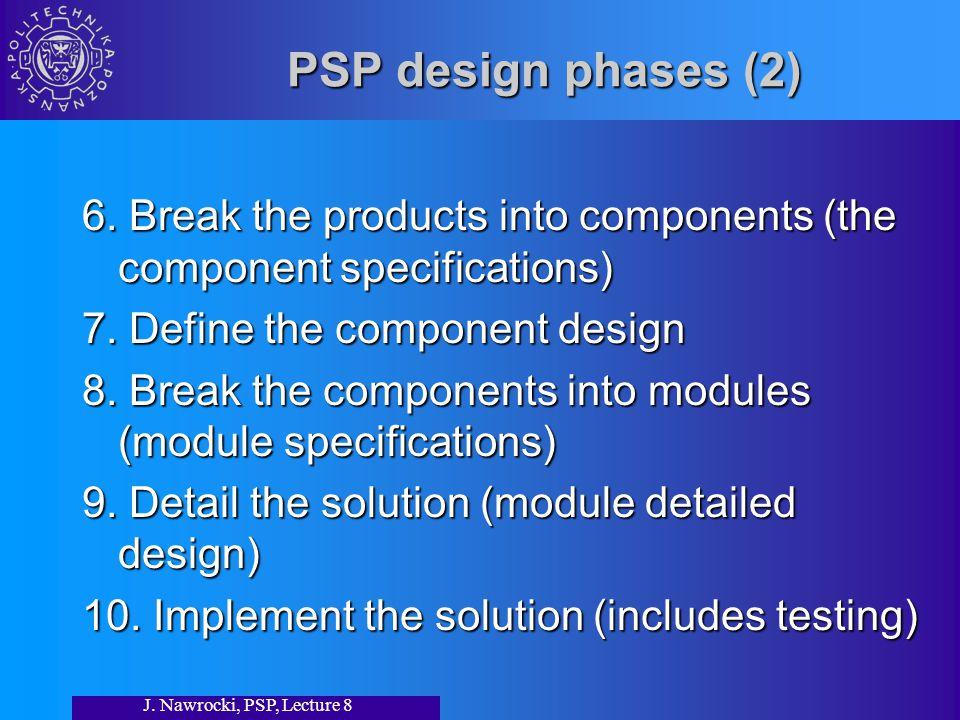 J. Nawrocki, PSP, Lecture 8 PSP design phases (2) 6.