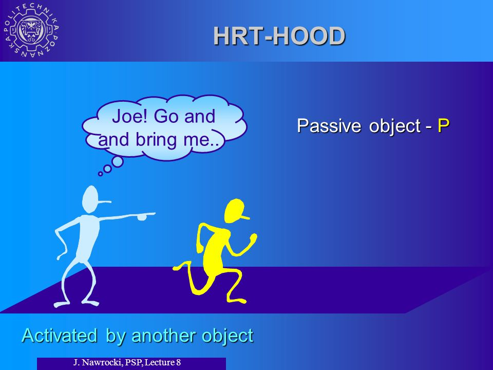 J. Nawrocki, PSP, Lecture 8 HRT-HOOD Passive object - P Activated by another object Joe.