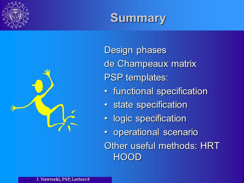 J. Nawrocki, PSP, Lecture 8 Summary Design phases de Champeaux matrix PSP templates: functional specification state specification logic specification