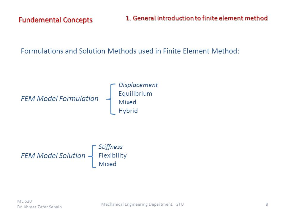 Formulations and Solution Methods used in Finite Element Method: FEM Model Formulation FEM Model Solution Fundemental Concepts ME 520 Dr. Ahmet Zafer