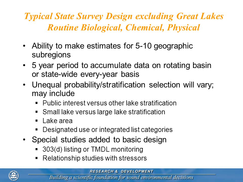 Typical State Survey Design excluding Great Lakes Routine Biological, Chemical, Physical Ability to make estimates for 5-10 geographic subregions 5 year period to accumulate data on rotating basin or state-wide every-year basis Unequal probability/stratification selection will vary; may include  Public interest versus other lake stratification  Small lake versus large lake stratification  Lake area  Designated use or integrated list categories Special studies added to basic design  303(d) listing or TMDL monitoring  Relationship studies with stressors