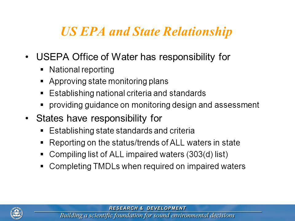 US EPA and State Relationship USEPA Office of Water has responsibility for  National reporting  Approving state monitoring plans  Establishing national criteria and standards  providing guidance on monitoring design and assessment States have responsibility for  Establishing state standards and criteria  Reporting on the status/trends of ALL waters in state  Compiling list of ALL impaired waters (303(d) list)  Completing TMDLs when required on impaired waters