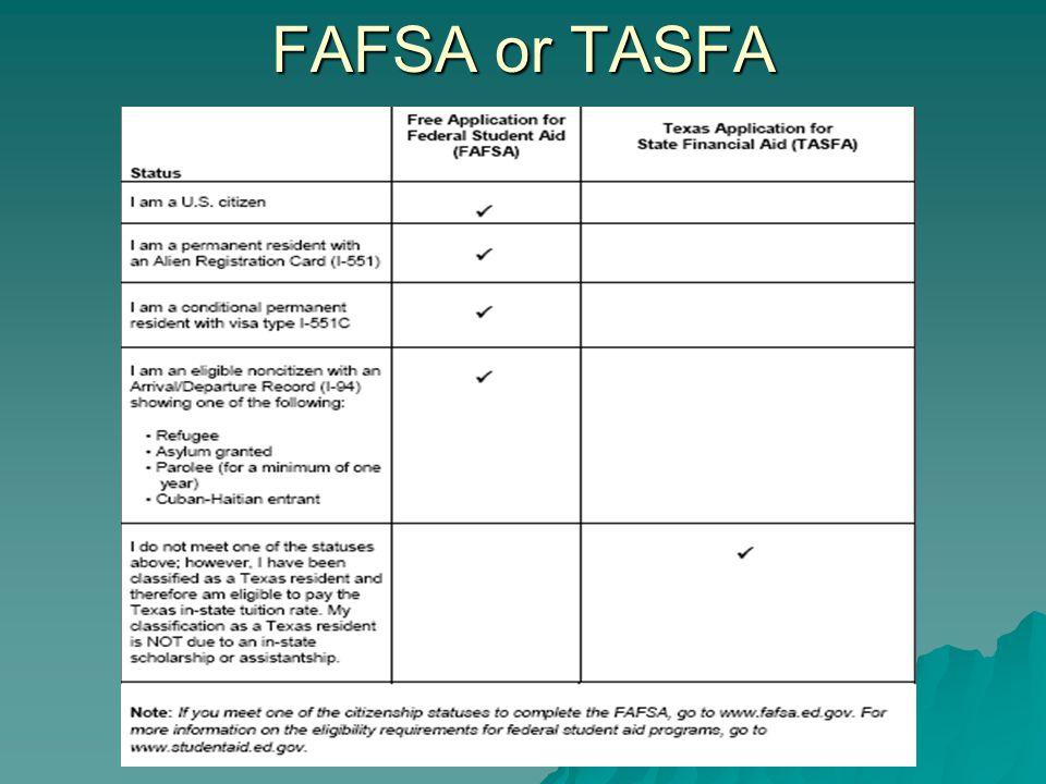 FAFSA or TASFA