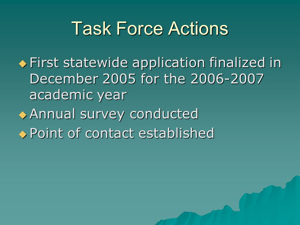 Task Force Actions  First statewide application finalized in December 2005 for the 2006-2007 academic year  Annual survey conducted  Point of contact established