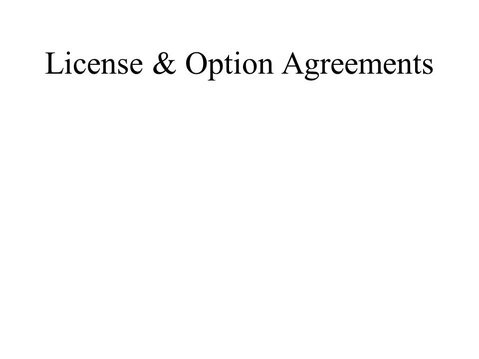 License & Option Agreements