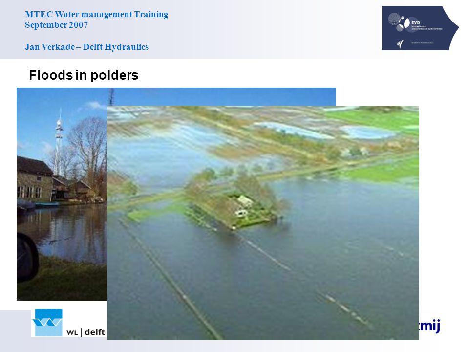 MTEC Water management Training September 2007 Jan Verkade – Delft Hydraulics Floods in polders