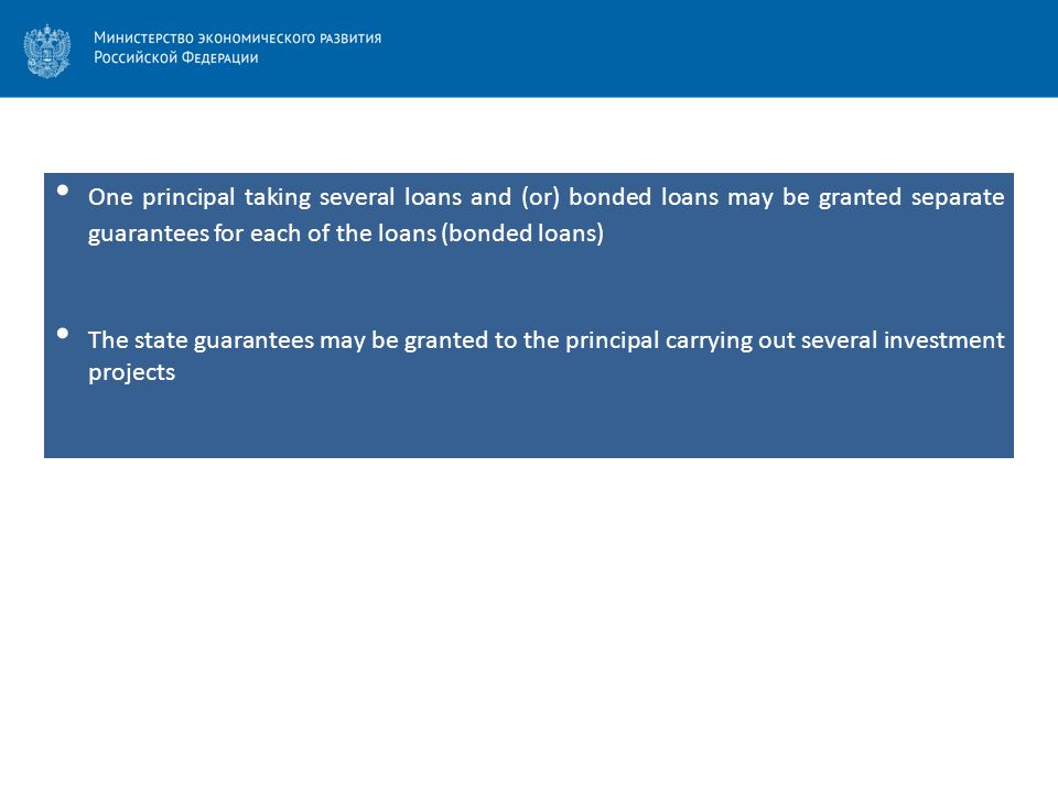 One principal taking several loans and (or) bonded loans may be granted separate guarantees for each of the loans (bonded loans) The state guarantees