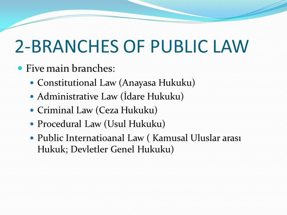 2-BRANCHES OF PUBLIC LAW Five main branches: Constitutional Law (Anayasa Hukuku) Administrative Law (İdare Hukuku) Criminal Law (Ceza Hukuku) Procedur