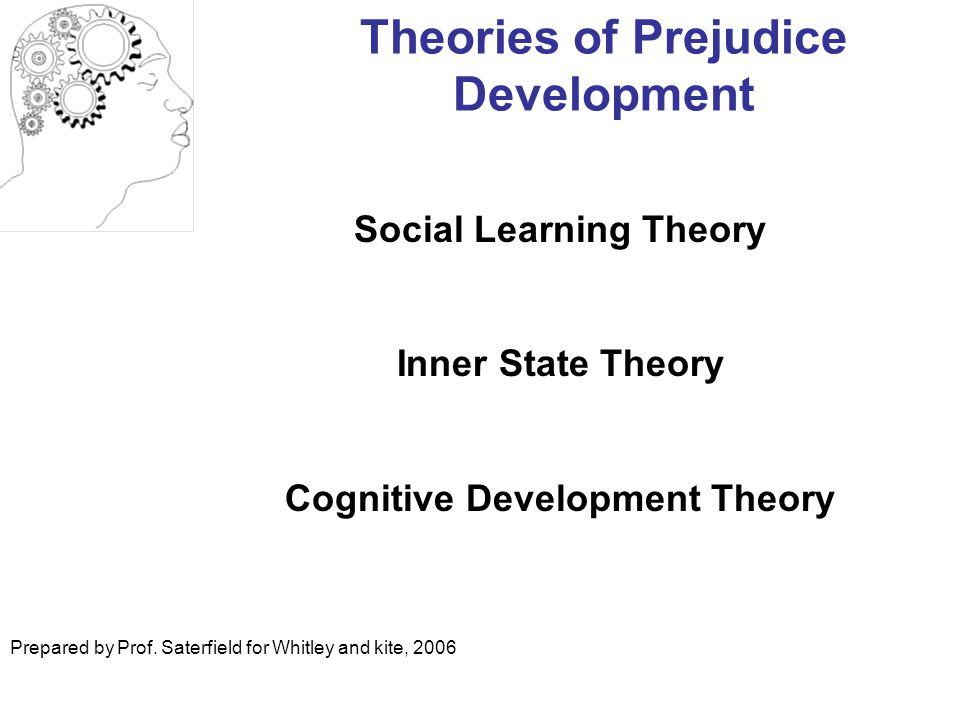 Theories of Prejudice Development Social Learning Theory Inner State Theory Cognitive Development Theory Prepared by Prof.
