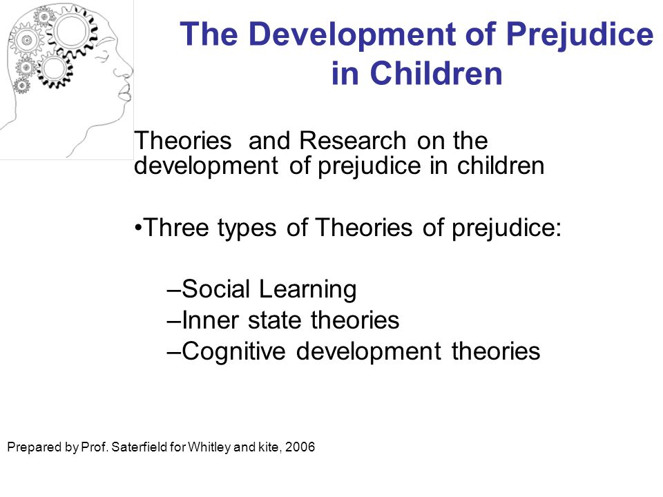 The Development of Prejudice in Children Theories and Research on the development of prejudice in children Three types of Theories of prejudice: –Social Learning –Inner state theories –Cognitive development theories Prepared by Prof.