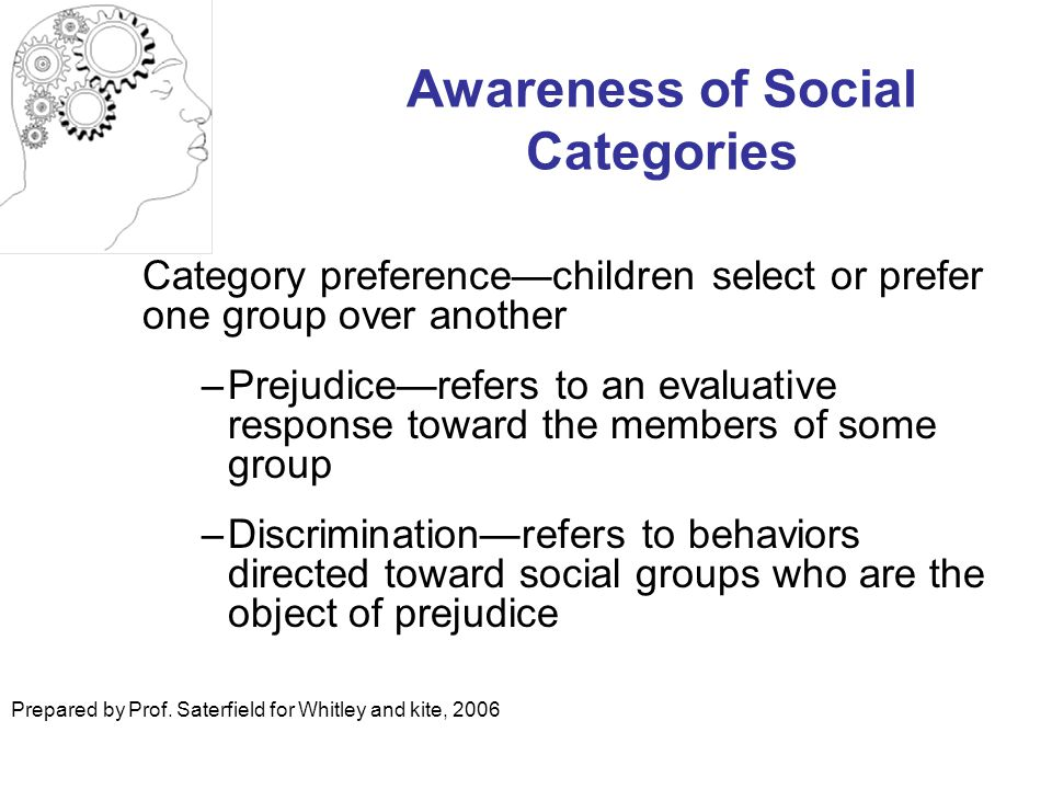 Awareness of Social Categories Category preference—children select or prefer one group over another –Prejudice—refers to an evaluative response toward the members of some group –Discrimination—refers to behaviors directed toward social groups who are the object of prejudice Prepared by Prof.