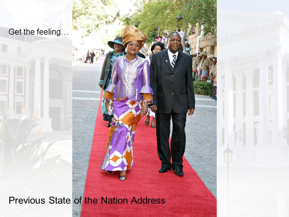 Previous State of the Nation Address Get the feeling…