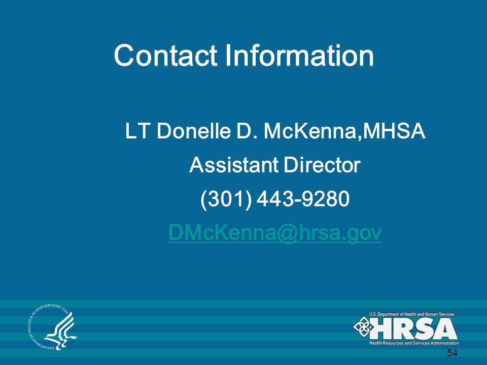 54 Contact Information LT Donelle D.