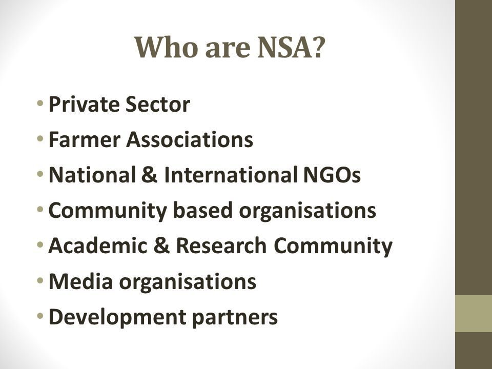 Who are NSA.