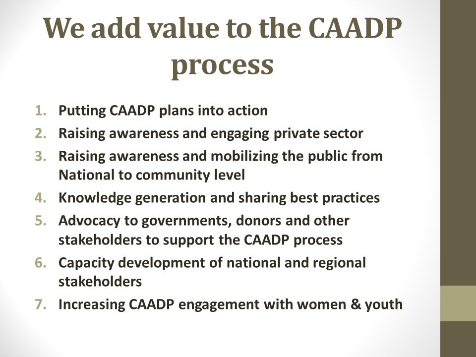 We add value to the CAADP process 1.Putting CAADP plans into action 2.Raising awareness and engaging private sector 3.Raising awareness and mobilizing the public from National to community level 4.Knowledge generation and sharing best practices 5.Advocacy to governments, donors and other stakeholders to support the CAADP process 6.Capacity development of national and regional stakeholders 7.Increasing CAADP engagement with women & youth