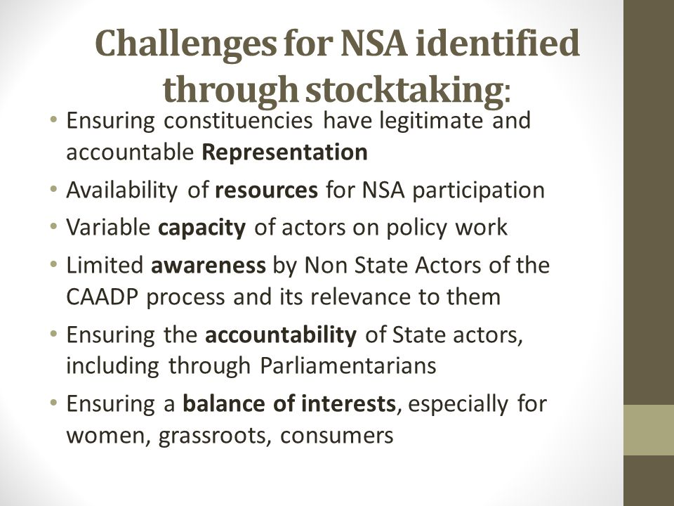 Challenges for NSA identified through stocktaking: Ensuring constituencies have legitimate and accountable Representation Availability of resources for NSA participation Variable capacity of actors on policy work Limited awareness by Non State Actors of the CAADP process and its relevance to them Ensuring the accountability of State actors, including through Parliamentarians Ensuring a balance of interests, especially for women, grassroots, consumers