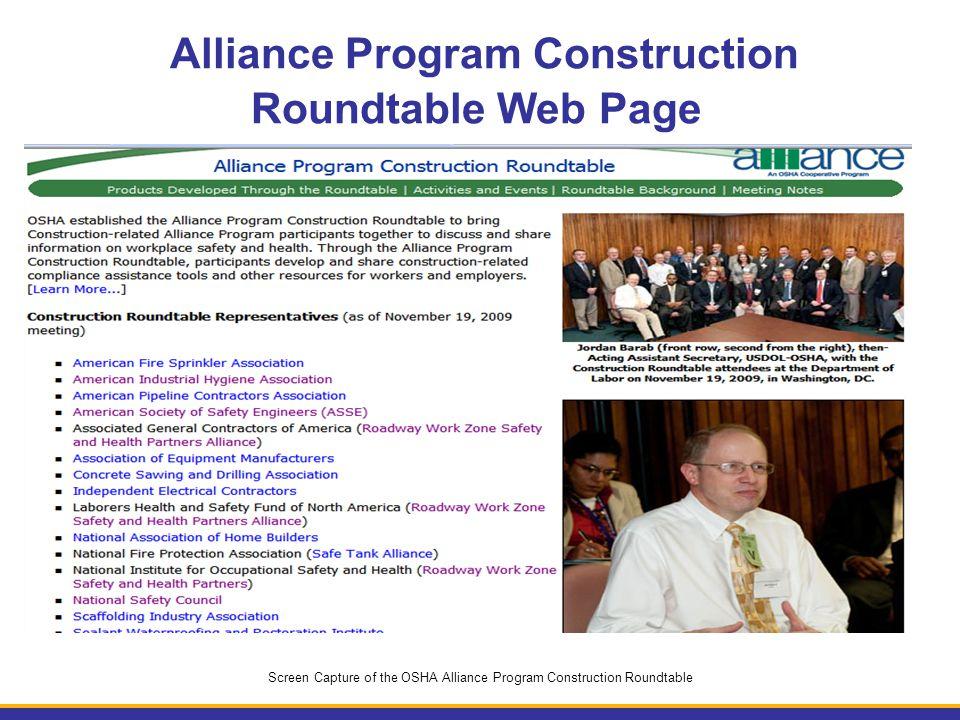 Alliance Program Construction Roundtable Web Page Screen Capture of the OSHA Alliance Program Construction Roundtable