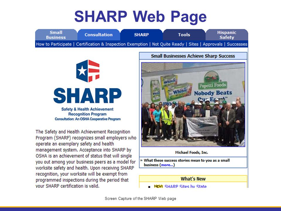 SHARP Web Page Screen Capture of the SHARP Web page