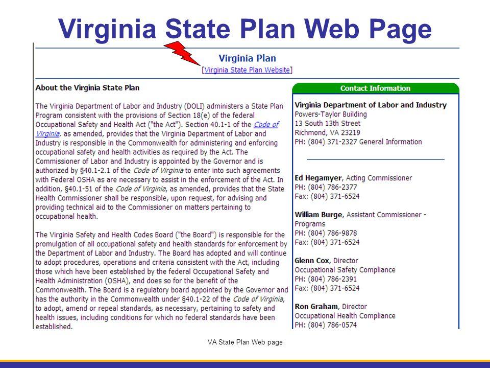 Virginia State Plan Web Page VA State Plan Web page